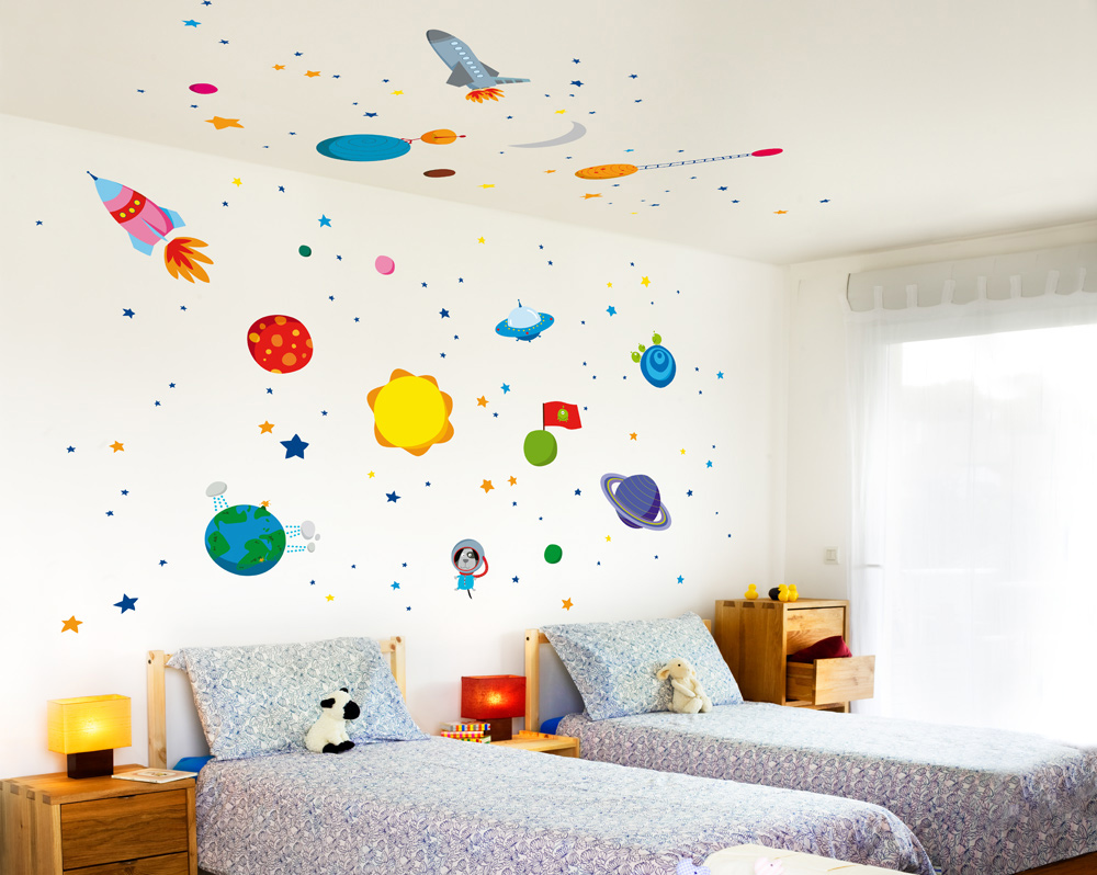 Vinilo espacio el mundo de mapi Vinilos de pared infantiles
